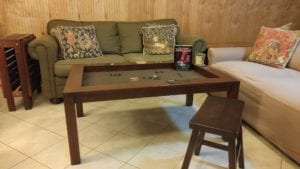 Coffee Game Table in Cherry finish and Dark Brown Fabric with Side Table/Bench in Sagamore Hill finish. Photo by Jodi. :)