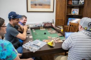 Dining Game Table with Cup Holders in use during International Tabletop Day!