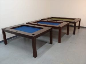 Dining, Banquet, and Tablezilla lined up: a foot longer as you go up!