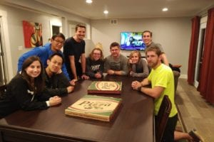 Janice's group enjoying a Banquet Game Table with dining top in place.