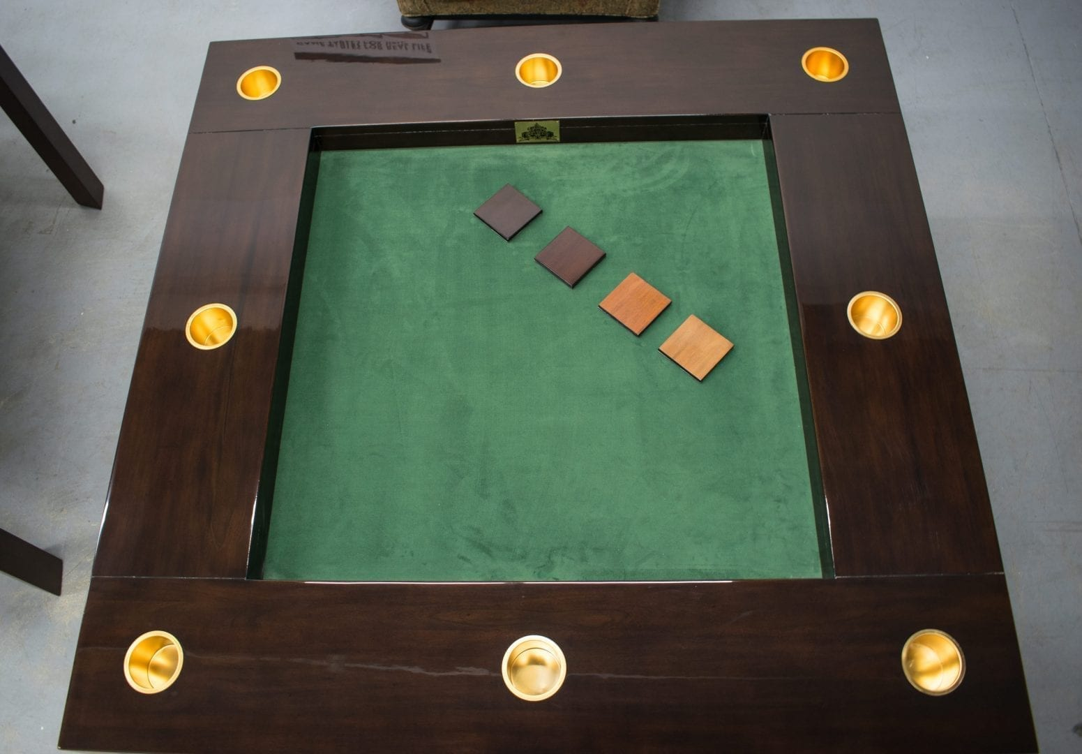 Gaming Table with Gold Cupholders