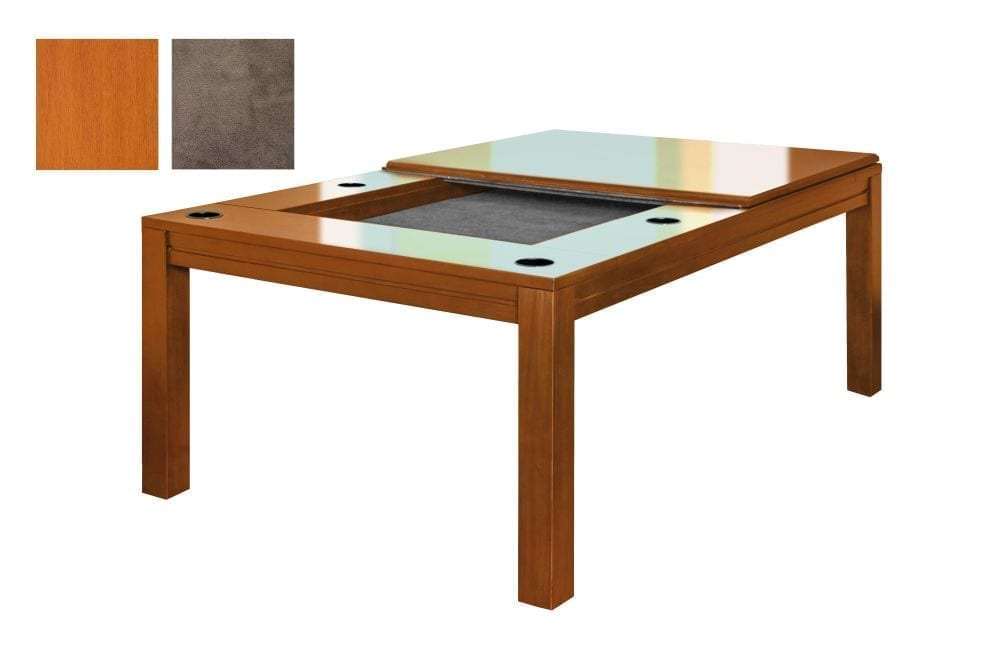 A Banquet gaming table in French Couture finish with grey fabric.