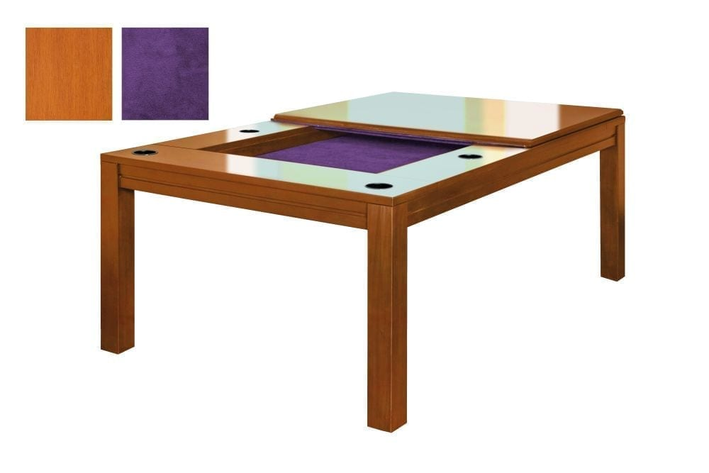 A Banquet gaming table in French Couture finish with purple fabric.