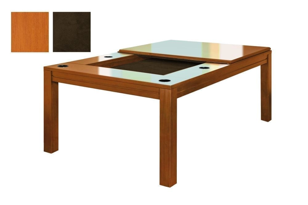 Banquet gaming table in French Couture finish with dark brown fabric